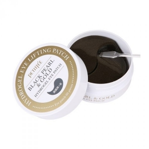 Патчи Petitfee black pearl & gold hydrogel eye patch